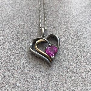 Kay Jewelers Silver 14KY Pink Sapphire Pendant